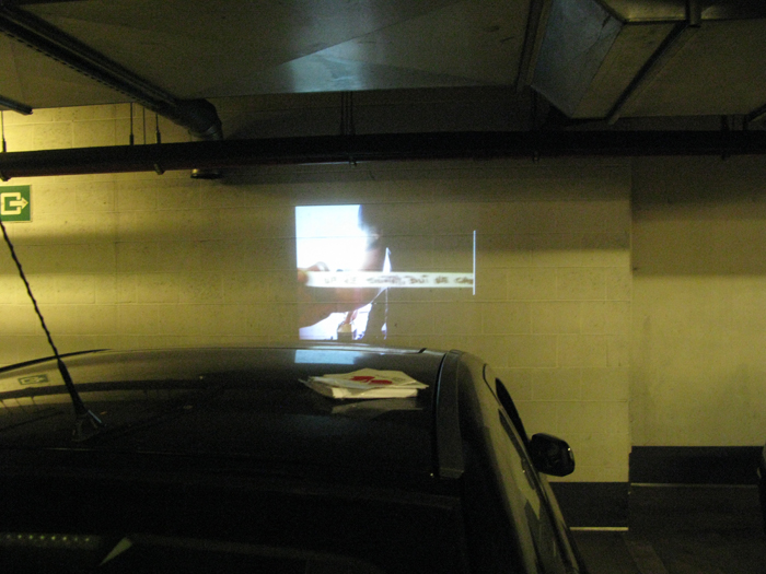 Cristian Bors & Marius Ritiu, Mobile projection nr.2, public space intervention, Antwerp, Belgium.